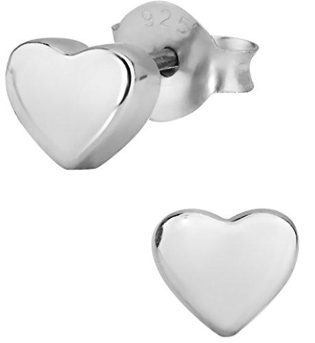 Silver Little Heart (.925 Sterling Silver Little Heart Children's Stud Earrings for)