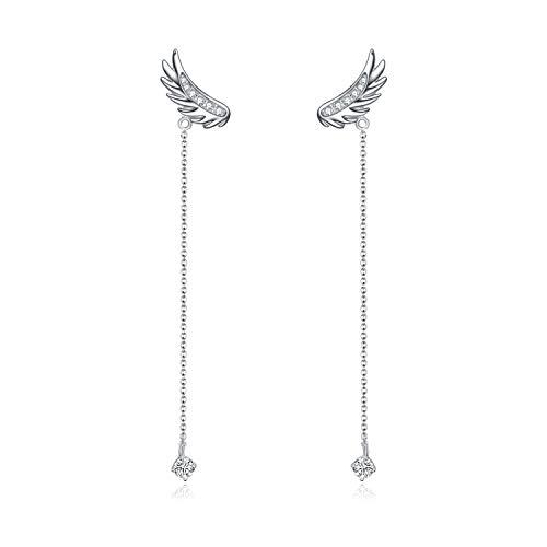 AOBOCO Sterling Silver Angel Wings Earrings Drop Dangle Ear rings with Swarovski Crystal,Fine Jewelry Gift for Women Girls