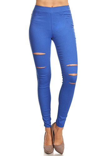 Twill Jean Leggings - Jvini Women's Pull-On Ripped Distressed Stretch Legging Pants Denim Jean (X-Large, Blue)