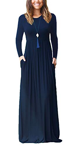 Fantastic Zone Women Long Sleeve Loose Plain Maxi Dresses Casual Long Dresses with Pockets Navy Blue X-Large for $<!--$21.99-->