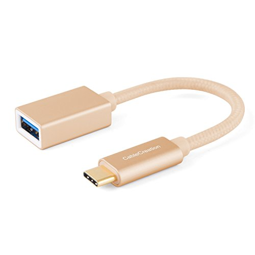 0.5' Disc Color - Type C Adapter, CableCreation 0.5ft USB C to USB 3.0 Female Adapter Cable, USB-C OTG Cable, Compatible MacBook Pro,Galaxy S8/S8+, Pixel XL 2, More Type C Devices, 0.15M/ Gold