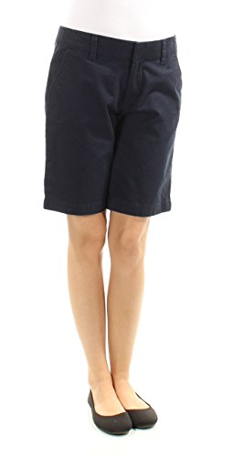 Flat Front Ladies Shorts Twill (Tommy Hilfiger Womens Twill Flat Front Bermuda, Walking Shorts Navy 2)