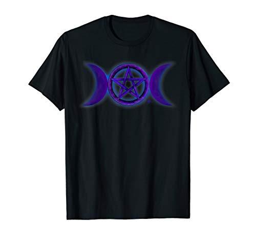 Wicca triple moon goddess symbol T shirt by Mortal Designs -