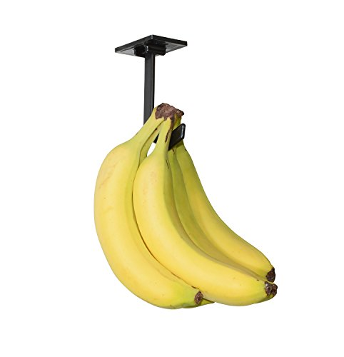 Banana Hanger - Under Cabinet Hook for Bananas or Other Lightweight Kitchen Items. Hook Folds-up When Not in Use. Self-adhesive and Pre-drilled Holes (Screws Provided!) Keep Bananas Fresh.(Black) (Best Way To Keep Bananas From Ripening)