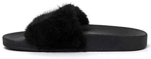 Lusthave Open Teen Glijden Op Slip Op Bont Street Fashion Sandalen Flip Flop Slippers Zwart