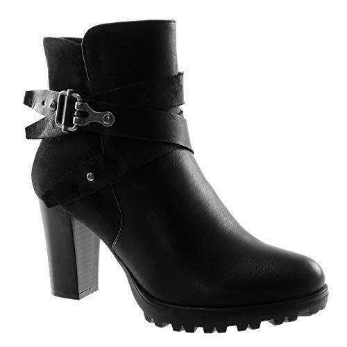 Caviglia Scarpe Incrociate Blocco Materiale Nero Delle Piattaforma XwOWnIqwPA