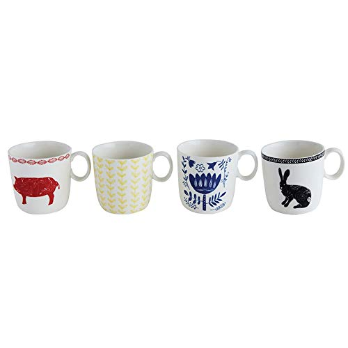 Creative Co-Op Hand Painted Stoneware Mugs, Set of 4 (Hand Painted Stoneware Mugs)