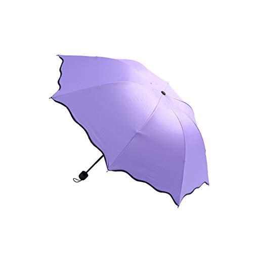 Miaomiaogo Women Lady Solid Color Magic Flower Parasol Multifunction Three Folding Anti-UV Sun Rain Umbrella ()