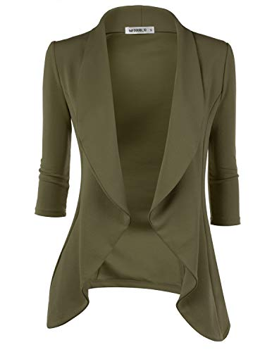Doublju Womens Lightweight Classic Draped Open Front Blazer with Plus Size Olive 2X