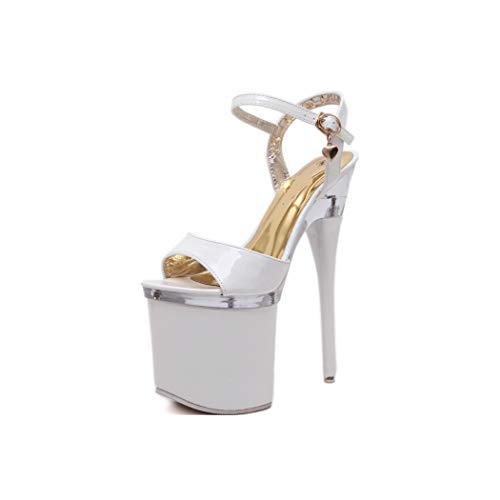 34-38 Women Sexy Party Super High Heels Platform Fish Toe Sandals,White,34