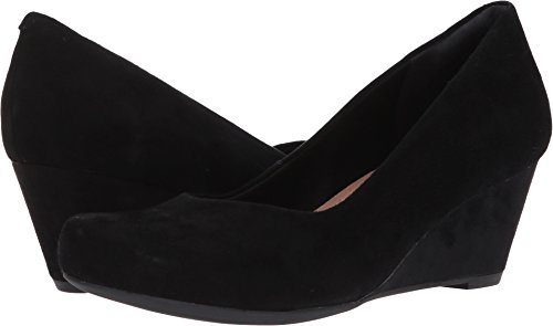 Clarks Women's Flores Tulip Wedge Pump,Black Suede,10 W US