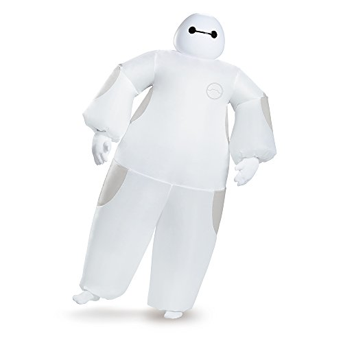 Disguise Men's White Baymax Inflatable Adult Costume, White, One (Baymax Halloween Costume)