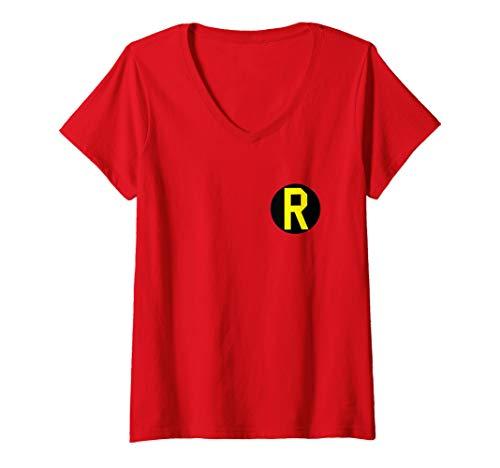 Womens Batman Robin Left Chest Logo V-Neck T-Shirt]()