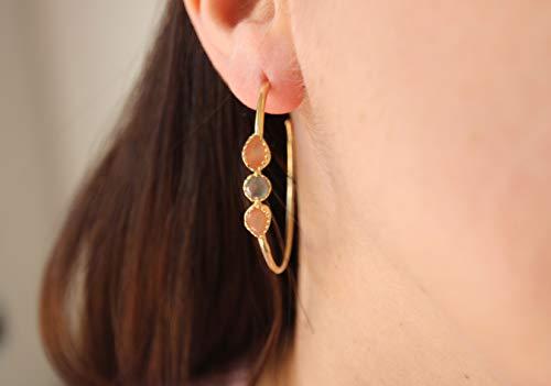 - Labradorite Gold Plated Hoop Earring Silver 925, Tiny Grey Gemstone, Peach Moonstone