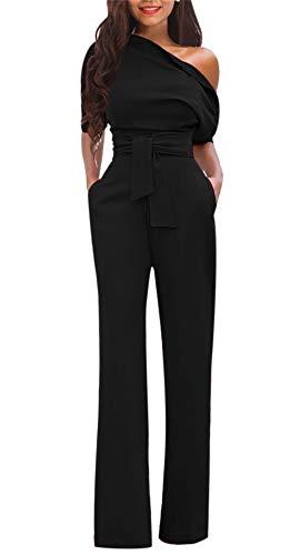 (LKOUS Women's Short Sleeves High Waist Off One Shoulder Club Cocktail Jumpsuit Romper Pants, Black,)