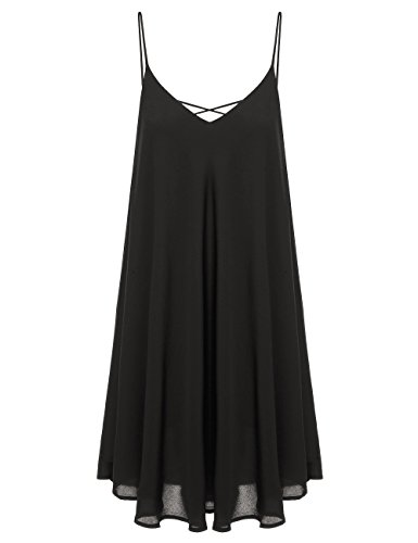 ROMWE Women's Summer Spaghetti Strap Sundress Sleeveless Beach Slip Dress Black X-Small