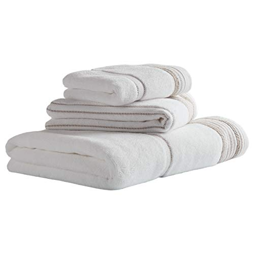 Stone & Beam Casual Striped Cotton Towel Set, Set of 3, Dune
