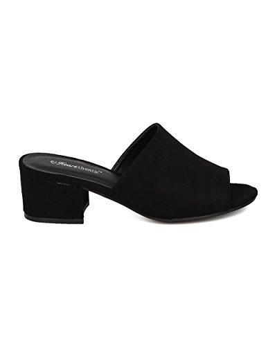 Unna Kvinnor Chunky Klack Mule - Peep Toe Blockera Häl Slide - Öppen Tå Häl Sandal - Gladys-10 Med Svart Faux Mocka
