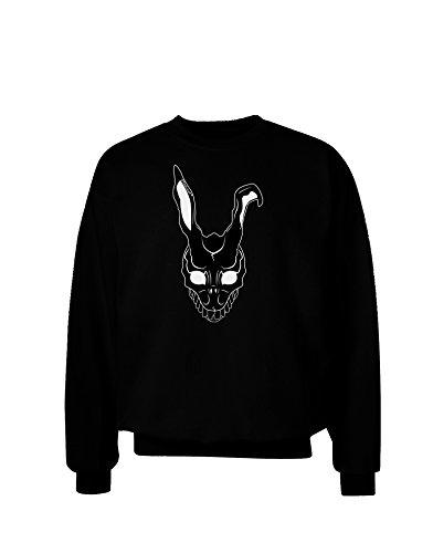 TooLoud Scary Bunny Face Black Adult Dark Sweatshirt - Black - XL