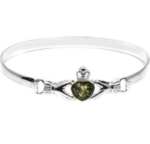Green Amber Claddagh Heart Shaped Stone Elegant Bangle Bracelet 7