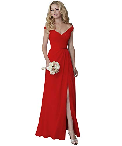 Yilis Off The Shoulder V-Neck Ruched Slit Chiffon Prom Dress Long Formal Evening Dress Red 4 Chiffon Slim Prom Dress