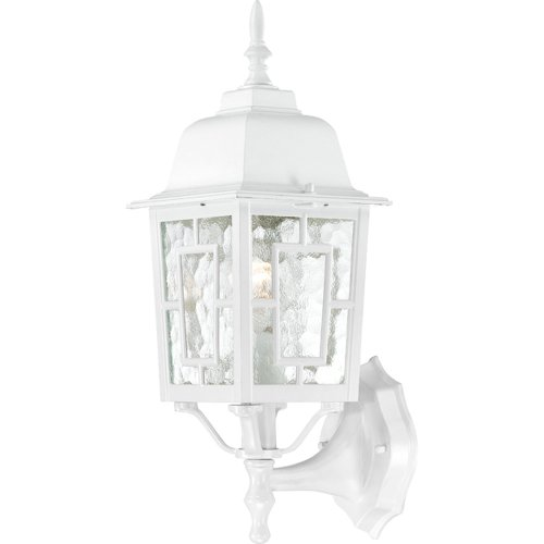 Nuvo Lighting 60/4924 Banyon One Light Wall Lantern/Arm Up 100 Watt A19 Max. Clear Water Glass White Outdoor Fixture