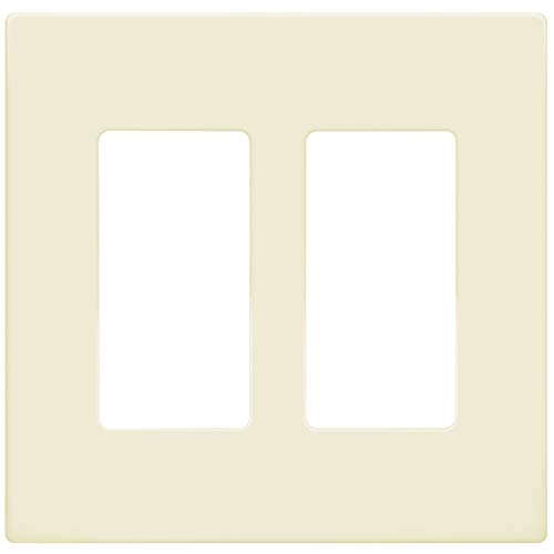 Enerlites Screwless Cover Child Safe Decorator Wall Plate, Standard Size 2-Gang, Polycarbonate Thermoplastic, Light Almond SI8832-LA