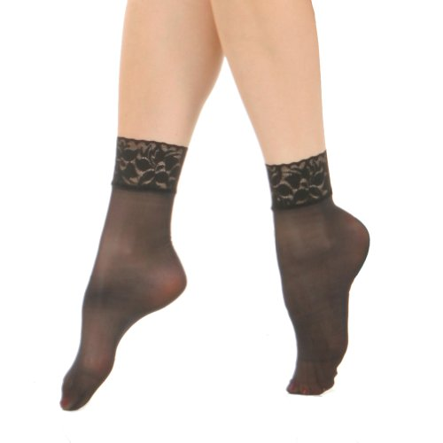 (Angelina Nylon Spandex Sheer Anklet Stocking with Lace (6-Pairs))