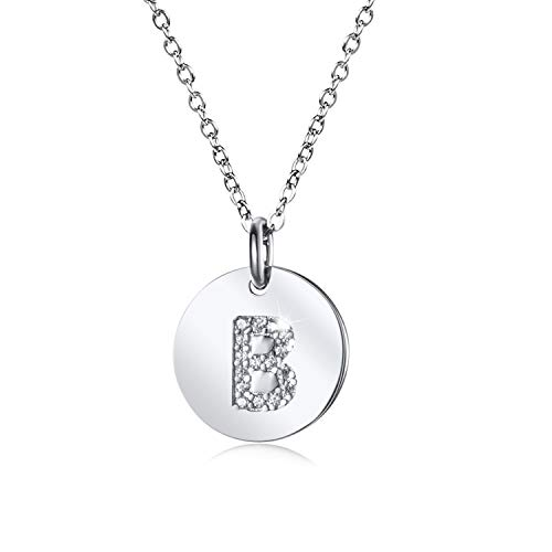 Tiny Disc Initial Necklace S925 Sterling Silver Letters B Alphabet Pendant Necklace Women Jewelry ()