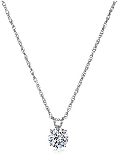 Jewelili 10K White Gold Solitaire Pendant Necklace Set with Round Cut Swarovski Zirconia (1 cttw), 18