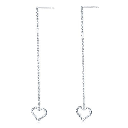 Diamond Open Heart Earrings - MaBelle 14K White Gold Diamond-Cut Open Heart Threader Link String Earrings