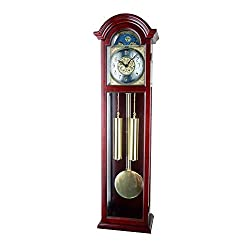 JUSTIME 42-inch Solid Wood Mahogany Pendulum Wall Clock with Hourly Westminster Chime and Strike, Night Off - P00064