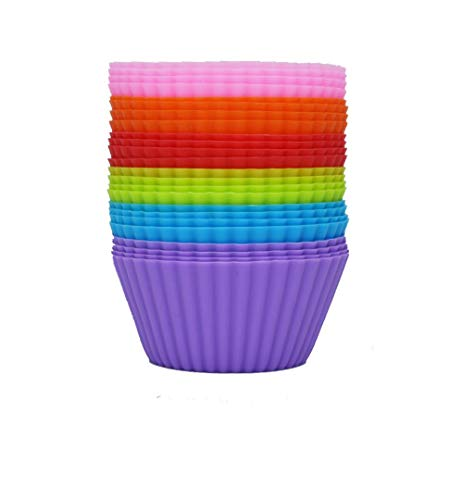 Silicone Baking Muffin Cups 24-Pack Reusable Cupcake Liners Non-stick Muffin Cups Rainbow Cupcake Wrappers Cupcake…