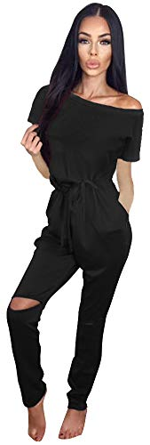 Longwu Women's Casual Off Shoulder Jumpsuits Short Sleeve Drawstring Rompers Knee Hole Pants with Pockets ()