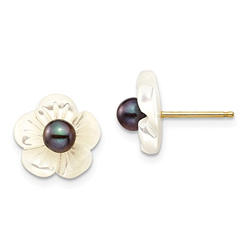 (14k Yellow Gold 4mm Black Freshwater Cultured Pearl 10 Mm Mop Flower Post Stud Earrings Ball Button Gardening Fine Jewelry Gifts For Women For Her)
