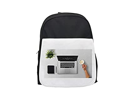 Mochila para ordenador portátil, café, brazo, hombre, planta, escritorio impreso para