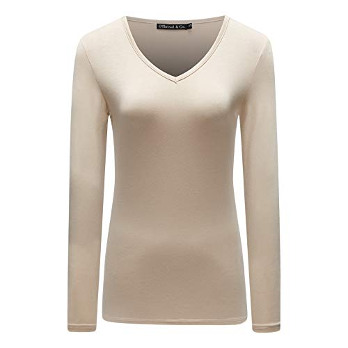 OThread & Co. Women's Long Sleeves V-Neck T-Shirt Plain Basic Spandex Tee (Large, Apricot)