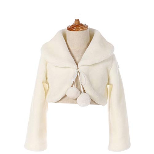 FAYBOX Cozy Faux Fur Flower Girl Bolero Shrug Accessories Princess Cape C Size M
