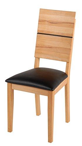 SAM® Esszimmerstuhl Hugo in Kernbuche geölt, Stuhl mit schwarzem SAMOLUX®-Bezug auf der Sitzfläche, angenehme Polsterung, pflegeleichter Stuhl mit geschwungener Rückenlehne