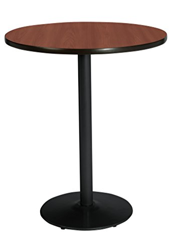 KFI Seating Bistro Height Round Black Base Pedestal Table with Top, Mahogany, 42
