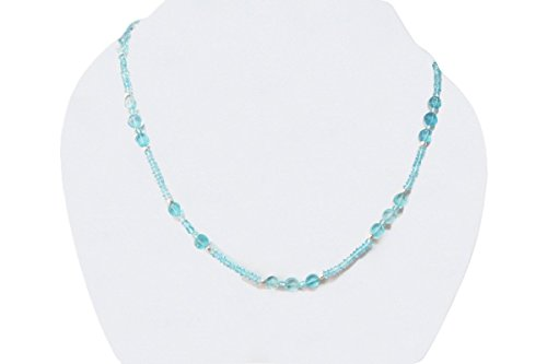 Natural Blue Apatite Beads Necklace Strand with 925 Sterling Silver 16