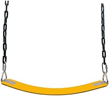 ブランコ 子どもたちは、屋内屋外の遊び場ホームツリーのためのパーフェクトハンギングスイング ジャングルジム・ブランコ (色 : Yellow, Size : 63.5x15cm)