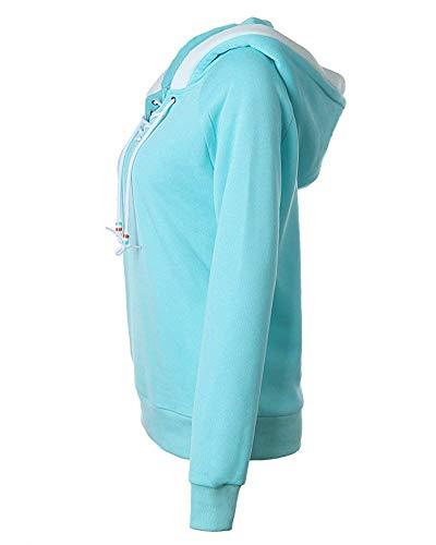 Femmes À Pullover Chaud Pour Couleur Xl Zhrui Manches Longues Casual Ciel Taille Taille Sweat Bleu Plus Les PqRXw5yU