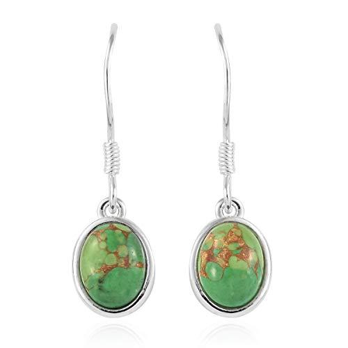 925 Sterling Silver Oval Green Turquoise Lever Back Dangle Drop Earrings for Women Jewelry