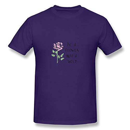 Men's Premium Short Sleeve Logo Tshirt Print Slogan be Flower not Weed Pink ROS