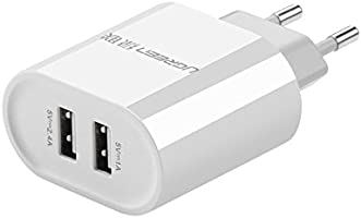 Ugreen 20384 - Cargador con 2 puertos USB (17W/5V, 3.4 A) color blanco