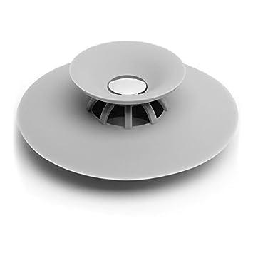 oobest 1PC silicone Hot filtri pellicole di protezione tappo per scarico doccia, doccia di scarico per vasca da bagno, raccogli capelli per pavimento White