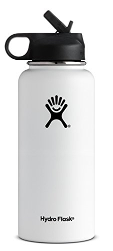 Hydro Flask Vacuum Insulated Stainless Steel Water Bottle Wide Mouth with Straw Lid (White, ()