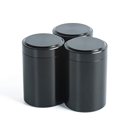 Cookie Tin Black - Set of 3 mini tea cans with Airtight lid home kitchen, Canisters for Tea Coffee Sugar Storage Loose Leaf Tea Tin Containers storage(black 5)