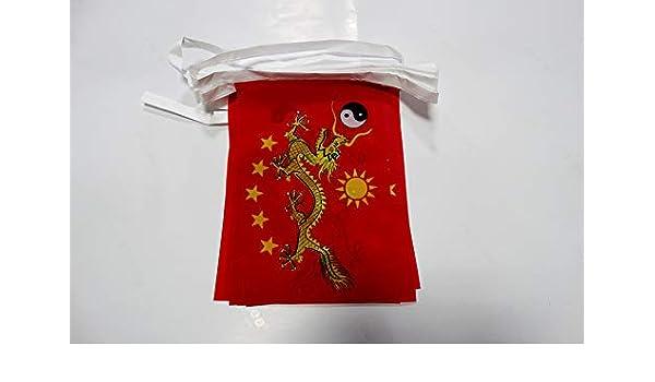 AZ FLAG Guirnalda 6 Metros 20 Banderas de China Imperial Nuevo 21x15cm - Bandera del Imperio Chino 15 x 21 cm - BANDERINES: Amazon.es: Jardín